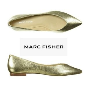Pretty Gold Leather Marc Fisher Pointy Toe Flats